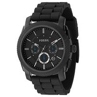 Fossil FS4487 Men's Machine Chronograph Rubber Strap Watch, Black