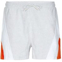 Mens White Panelled Towelling Shorts, White