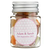 Fine Confectionery Company Personalised Dolly Mix Hearts Jar, Pack of 25, Small