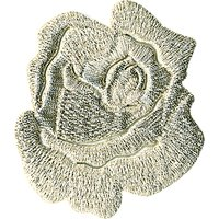 La Stephanoise Rose Iron On Patch, Silver