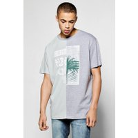 Spliced T Shirt With Chest Print - teal