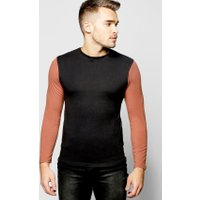 Sleeve Contrast Muscle Fit T Shirt - rust