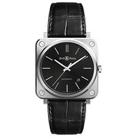 Bell & Ross BRS92-BLC-ST/SCR Men's Automatic Date Alligator Leather Strap Watch, Black