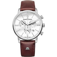 Maurice Lacroix EL1098-SS001-112-1 Men's Eliros Chronograph Date Leather Strap Watch, Dark Brown/Whi
