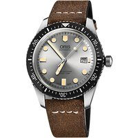 Oris 01 733 7720 4051-07 5 21 02 Men's Divers Sixty-Five Automatic Date Leather Strap Watch, Dark Br