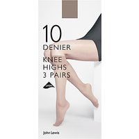 John Lewis & Partners 10 Denier Knee High Socks, Pack of 3