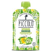Piccolo Organic Spring Greens Pear & Apple with a Hint of Mint Stage 1 100g