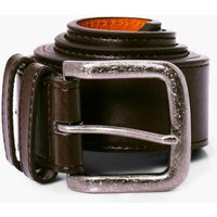 PU Belt With Silver Burnished Buckle - brown
