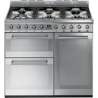 SMEG Symphony 90 cm Dual Fuel Range Cooker - Stainless Steel, Stainless Steel