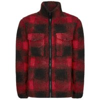 Mens Red Check Borg Jacket, Red