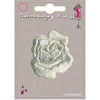 La Stphanoise Small Rose Iron On Patch, Silver