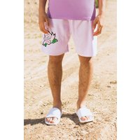 Velour Shorts With Rose Embroidery - lilac