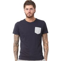 Brave Soul Mens Generate Contrast Pocket T-Shirt Navy/White